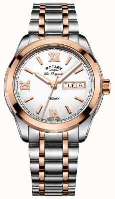 Rotary Relógio masculino de aço inoxidável legado em dois tons GB90175/06