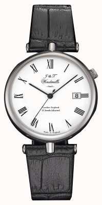J&T Windmills Mens threadneedle relógio mecânico pulseiras pretas WGS10004/01