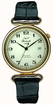 J&T Windmills Mens throgmorton relógio mecânico banhado a ouro WGS50002/18