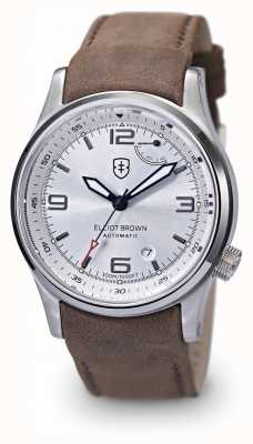Elliot Brown Mens tyneham pulseira de couro marrom mostrador prateado 305-003-L12