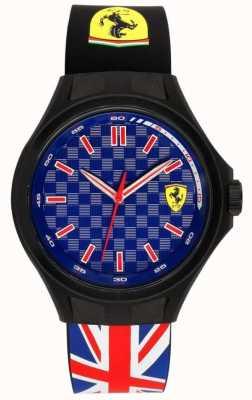 Scuderia Ferrari Mens pit tripulação união bandeira pulseira de borracha azul discagem 0830351