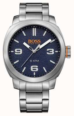 Hugo Boss Orange Mens pulseira de aço inoxidável cidade do cabo de discagem azul 1513419