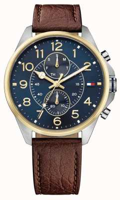 Tommy Hilfiger Mens dean pulseira de couro marrom mostrador azul 1791275