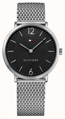 Tommy Hilfiger Mens james pulseira de malha de aço inoxidável mostrador preto 1710355