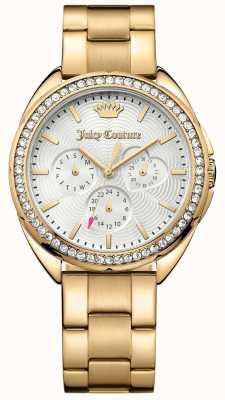 Juicy Couture Dial de prata de aço inoxidável de tom de ouro capri das mulheres 1901479