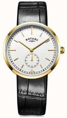 Rotary Mens canterbury pulseira de couro preto mostrador branco GS05062/02