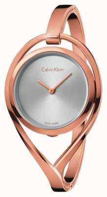 Calvin Klein Womens light medium subiu tom de ouro pulseira de discagem de prata K6L2M616