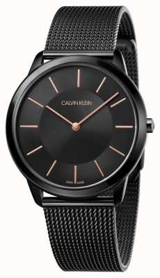 Calvin Klein Relógio minimalista para homem | pulseira de malha de aço inoxidável preto | K3M21421