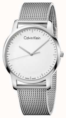 Calvin Klein Mens cinta de malha de aço inoxidável de prata discagem K2G2G126