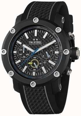 TW Steel Mens pulseira de borracha preta mostrador preto cronógrafo TW937