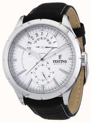 Festina Mens pulseira de couro preto branco F16573/1