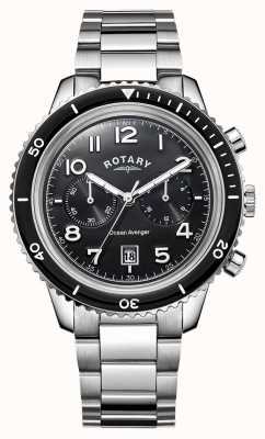 Rotary Mens Ocean Vingador cronógrafo mostrador preto GB05021/04
