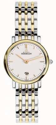 Michel Herbelin Womans dois tom strap branco dial 16945/BT11