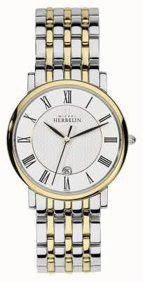 Michel Herbelin Mens cinta de ouro prata em aço inoxidável de dois tons 12543/BT01