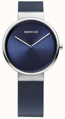 Bering Pulseira de malha de aço banhado a ferro azul unisex 14531-307