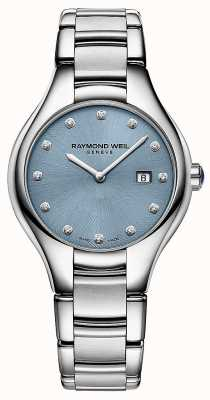 Raymond Weil Noemia da mulher 12 mostrador azul diamante 5132-ST-50081
