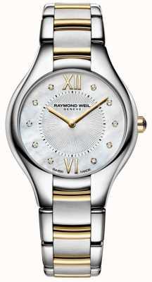 Raymond Weil Womans noemia aço inoxidável dois tons 10 diamond pearl dial 5132-STP-00985