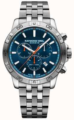 Raymond Weil Mens tango 43 milímetros azul cronógrafo dial aço inoxidável 8560-ST2-50001