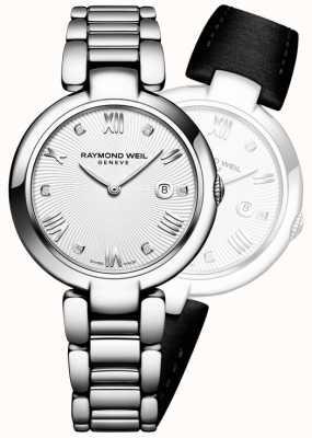 Raymond Weil Womans brilhar diamante de prata de aço inoxidável 1600-ST-00618