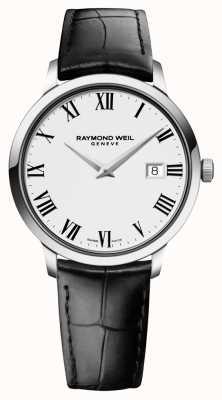 Raymond Weil Mens couro branco preto magro 5488-STC-00300