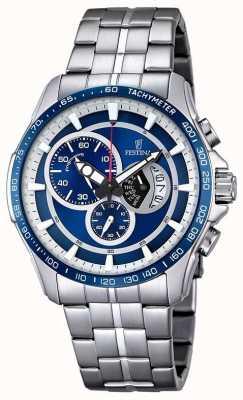Festina Mens pulseira de aço inoxidável cronógrafo pulseira azul F6850/2