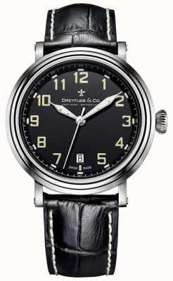 Bracelete de couro preto 1924 de aço inoxidável Dreyfuss para homem DGS00152/19