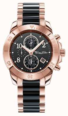Thomas Sabo Womens glam crono preto / ouro rosa WA0223-268-203-40