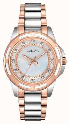 Bulova Senhoras de aço inoxidável / ouro rosa 98S134