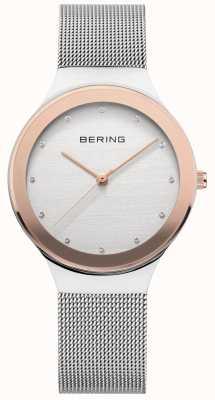 Bering Senhoras pulseira de malha de aço inoxidável prata | mostrador branco / dourado 12934-060