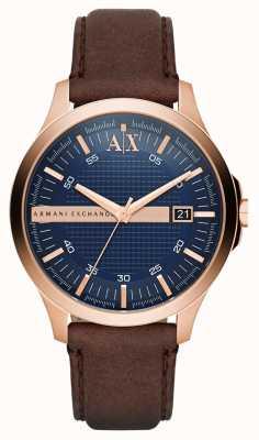 Armani Exchange Alça de couro marrom Mens rosa caixa de ouro AX2172
