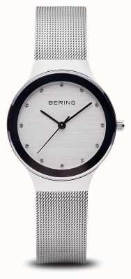 Bering Mulher | pulseira de malha de prata em aço inoxidável | rosto branco | 12934-000