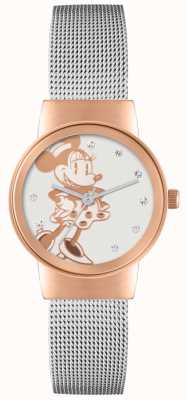 Disney Adult Minnie mouse subiu caso de ouro pulseira de malha de prata MN1312