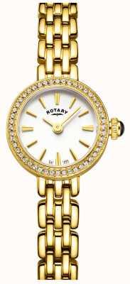 Rotary Mulher banhado a ouro conjunto de pedra relógio cocktail LB05053/02