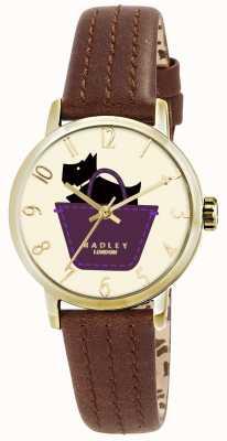 Radley Relógio de fronteira com pulseira de couro genuíno castanho RY2290