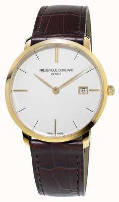 Frederique Constant Mens slim linha marrom pulseira de couro FC-220V5S5
