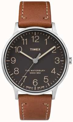 Timex Mens waterbury clássico mostrador preto pulseira marrom TW2P95800