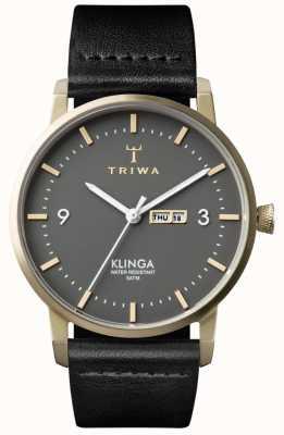 Triwa Cinza unissex klinga couro preto KLST107-CL010117