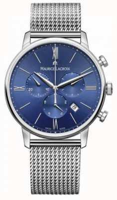 Maurice Lacroix Mens eliros cronógrafo alça de malha azul EL1098-SS002-410-1