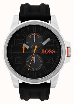 Hugo Boss Orange Data de borracha preta de Detroit e relógio de exibição de dia 1550006