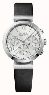 Hugo Boss Womens classic sport pulseira de couro preto mostrador prateado 1502395