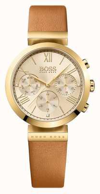 Hugo Boss Mulheres clássico esporte pulseira de couro marrom ouro 1502396