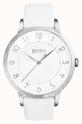Hugo Boss Womens eclipse pulseira de couro branco mostrador branco 1502409