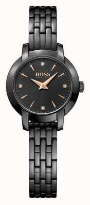 Hugo Boss Sucesso das mulheres pulseira de aço preto banhado a preto 1502387