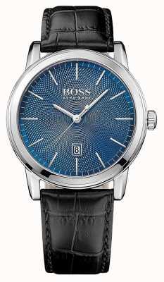 Hugo Boss Mens pulseira de couro preto clássico mostrador azul 1513400