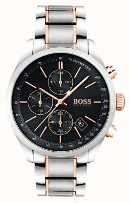 Hugo Boss Mens grand prix pulseira de aço inoxidável mostrador preto 1513473