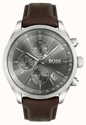 Hugo Boss Mens grande prix pulseira de couro marrom mostrador cinza 1513476