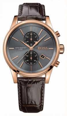Hugo Boss Mens jet marrom pulseira de couro cinza dial 1513281