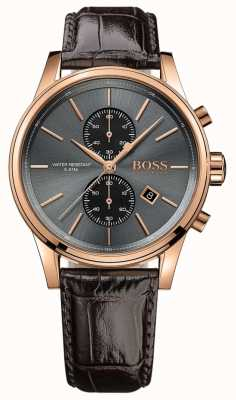 Boss Mens jet marrom pulseira de couro cinza dial 1513281