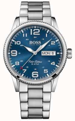 Boss Mens piloto pulseira de aço inoxidável vintage azul 1513329