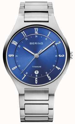 Bering Mens cinta de titânio cinza azul 11739-707